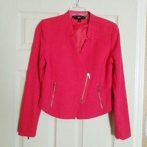 Coral tweed moto jacket style blazer